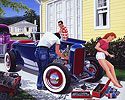 Shade Tree mechanic, 32 Ford Hot Rod, Highboy, roadster, flathead 1940 Ford Coupe 50s, working on hot rod