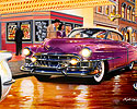 Bruce Kaiser Auto Paintings, 50s Movie Theater, 1953 Cadilac Coupe, 1953 Corvette, 1949 Ford, 50s city street, night scene