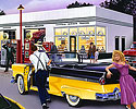 1955, 1956 Ford Convertible, Prom Night, 50s Gas Staion