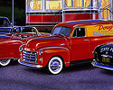1953 Cadilac, Chevy Panel truck, 49 Ford, 49 Oldsmobile, trolley car diner, 50s Diner