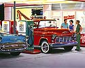 50s service station, 1957 Chevrolete Convertible, !956 Chevy tow truck, 1932 Ford Coupe Hot Rod, 24 Hour service