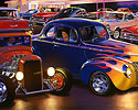 Bruce kaiser Hot Rod Art, Burger Bobs Drive-In, Cruisin, Cruising, 1940 Ford Coupe, flames, 32 3W
