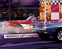 60s Drag Racing Painting, 1968 GTO, 1960 Corvette, Christmas Tree, Burnout