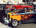 1932 Ford Hot Rod Roadster Highboy, flames, moon tank, 60s hot rod, drive-n, cruising, T-Bucket roadster, Corvette