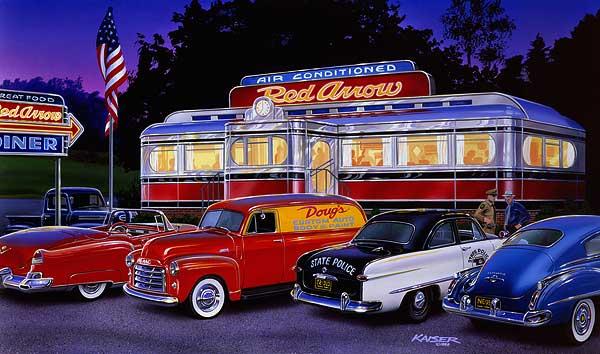 Paintings of 1950s cars and trucks bruce kaiser car art for Diner artwork