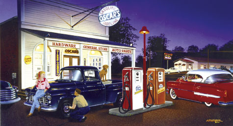 Oscar S General Store And Gas Station 50s Car And Truck Print