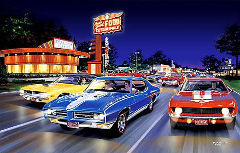 Woodward Ave Muscle Car Art Print